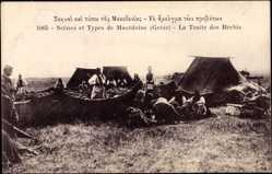 Postcard Mazedonien, Scenes et Types, La Traite des Brebis, Zeltlager