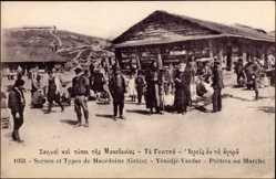 Postcard Yénidjé Vardar Mazedonien, Prêtres au Marché, Scènes et Types