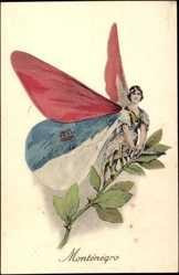 Künstler Ak Montenegro, Frau als Schmetterling, Flügel als Fahnen