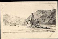 Künstler Ak Ubbelohde, Otto, Kaub St. Goarshausen, Blick über den Rhein