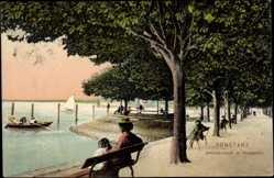 Postcard Konstanz am Bodensee, Seepromenade im Stadtgarten, Segelboot