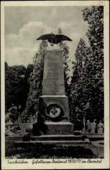 Postcard St. Johann Saarbrücken, Blick auf das Denkmal der 53er im Ehrental