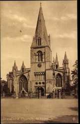 Postcard Sleaford East Midlands, general view of Sleaford Church, W. Front