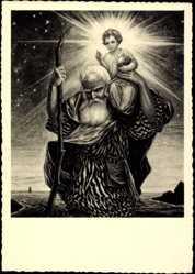 Künstler Ak Gehl, Carl, Jesuskind auf dem Rücken eines Greises