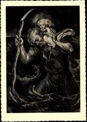 Künstler Ak Gehl, Carl, Kind auf dem Rücken eines Mannes, Sturm