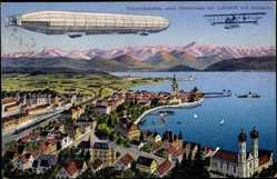 Postcard Friedrichshafen Bodensee, Neue Uferstraße, Luftschiff und Aeroplan