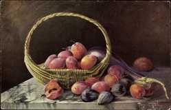 Künstler Ak Golay, Mary, Stillleben, Früchte in einem Korb, Obst