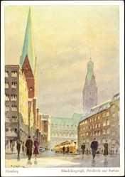 Künstler Ak Clausen, J., Hamburg, Mönckebergstraße, Petrikirche und Rathaus