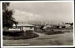Postcard Torneå Tornio Finnland, Invalidcafeet och Landsvägsbron