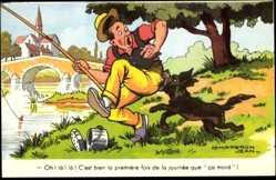 Künstler Ak Chaperon, Jean, Angler wird von Hund gebissen, Pêcheur, Chien