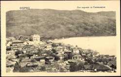 Postcard Ohrid Mazedonien, Vogelschau auf Siedlung an der Küste