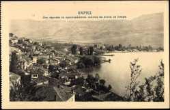 Postcard Ohrid Mazedonien, Totalansicht, Wohnsiedlung am See