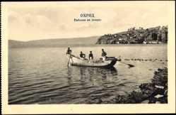 Postcard Ohrid Mazedonien, Fischerboot, Blick vom Ufer aus