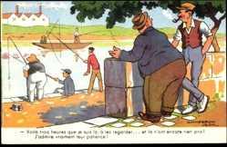 Künstler Ak Chaperon, Jean, Angler am Wasser, Pêcheurs