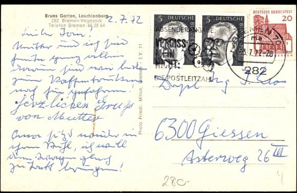 Ansichtskarte postkarte bremen vegesack a d weser for Bruns garten leuchtenburg