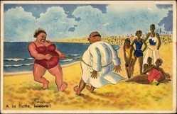 Künstler Ak A la flotte, Isidore, Dickes Paar am Strand