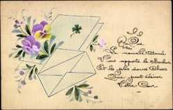Handgemalt Ak Glückwunsch Neujahr, Bonne Année, Briefumschlag, Blumen, Kitsch