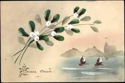 Handgemalt Ak Glückwunsch Neujahr, Bonne Année, Segelboote