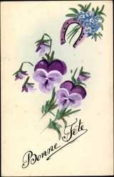 Handgemalt Ak Glückwunsch, Bonnte Fête, Blumen, Kitsch