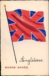 Handgemalt Ak Glückwunsch Neujahr, Großbritannien, Fahne