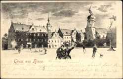 Künstler Ak Riesa an der Elbe, Partie am Marktplatz, krumme Gebäude und Laterne