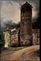 Künstler Ak Giersberg, P., Schlitz im Vogelsbergkreis, Blick zum Hinterturm