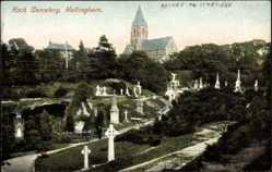 Postcard Nottingham East Midlands England, Rock Cemetery, Blick zum Friedhof