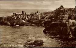 Postcard Portrush County Antrim Irland, At the Blue Pool, Bucht, Besucher