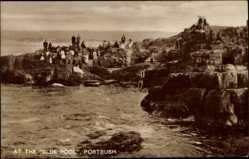 Postcard Portrush County Antrim Irland, At the Blue Pool, Bucht, Besucher