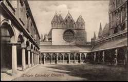 Postcard Lincoln East Midlands England, Cathedral Cloisters