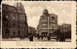 Postcard Lwów Lemberg Ukraine, Karl Ludwigs und Ecke Jagellonerstraße, Straßenbahn