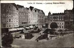 Postcard Lwów Lemberg Ukraine, Blick in die Walowa Straße
