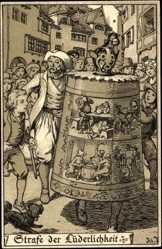 Künstler Litho Jodolfi, Strafe der Lüderlichkeit, Spanischer Kragen,Maske,Glocke
