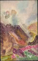 Handgemalt Ak Gebirge, Wolkenmeer, Bergpfad, Landschaft