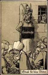 Künstler Ak Justiz, Strafe für böse Weiber, Frau am Pfahl mit Schild Hausdrache