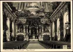 Postcard Ingolstadt, Innenansicht Maria de Viktoria-Kirche, Kanzel, Altar