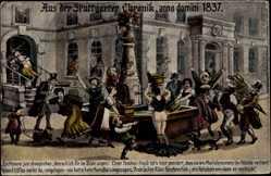 Postcard Stuttgart, aus der Stuttgarter Chronik, Nackte Magd, Rock, Bürgermeister 1837