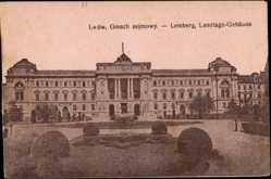 Postcard Lwow Lemberg Ukraine, Blick vom Park auf das Landtags Gebäude