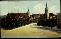 Postcard Riesa, Straßenpartie mit Blick auf das Rathaus und Klosterkirche