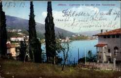Postcard Opatija Abbazia Kroatien, Cypressen in Icici mit dem Sanatorium