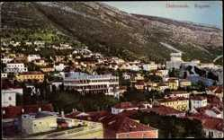 Postcard Dubrovnik Kroatien, Raguse, Gesamtansicht der Stadt am Fuße des Berges