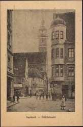 Postcard Ingolstadt, Schiffelmarkt, Straßenpartie, Passanten, Handlung Schwarz