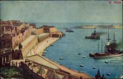 Postcard Malta, partial view of a town and the Mediterranean Sea, Vessels