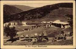 Postcard Mazedonien, In den Bergen, Pferde, Wagen, Einwohner