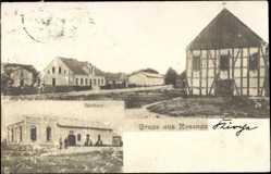 Foto Ak Rosenau Ostbrandenburg?, Gasthaus im Ort, Fachwerkbau, Straßenzug