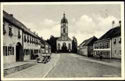 Postcard Winklern Oberpfalz, Straßenpartie mit Blick auf Kirche, Auto, Brauerei