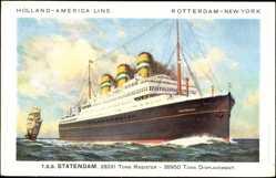 Postcard Dampfschiff, T.S.S. Statendam, HAPAG, Rotterdam New York