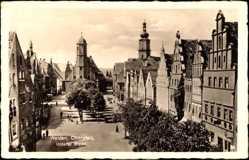 Postcard Weiden Oberpfalz, Unterer Markt, Kirche, Passanten, Platz, Bäume