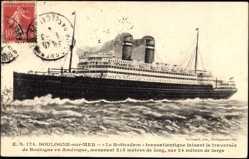 Postcard Boulogne sur Mer, Paquebot Rotterdam, HAPAG, Traversée en Amérique