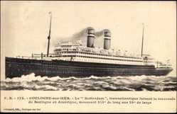 Postcard Boulogne sur Mer, Paquebot Rotterdam, HAPAG, Ansicht Backbord